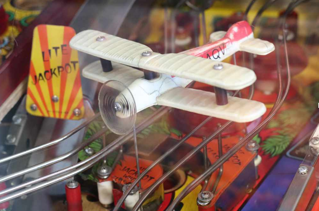 Image: Biplane on a pinball Machine
