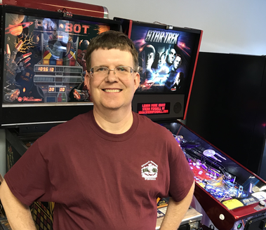 Kevin in front of our Pinball Machines