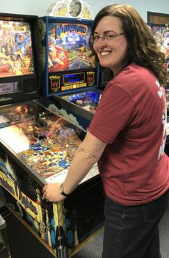 Laura Playing Pinball
