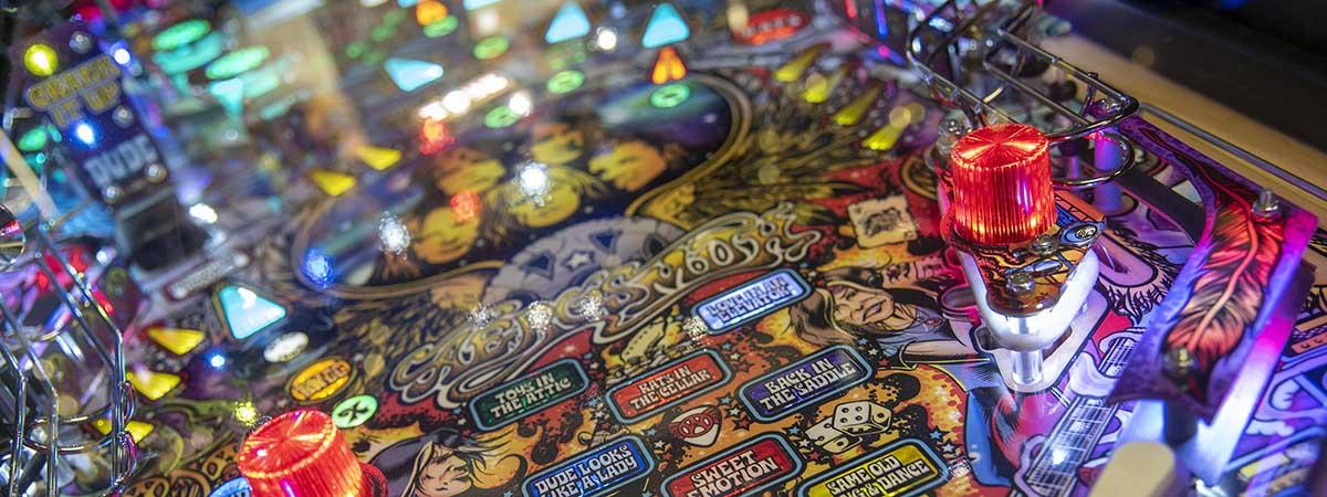 Close up of pinball machine