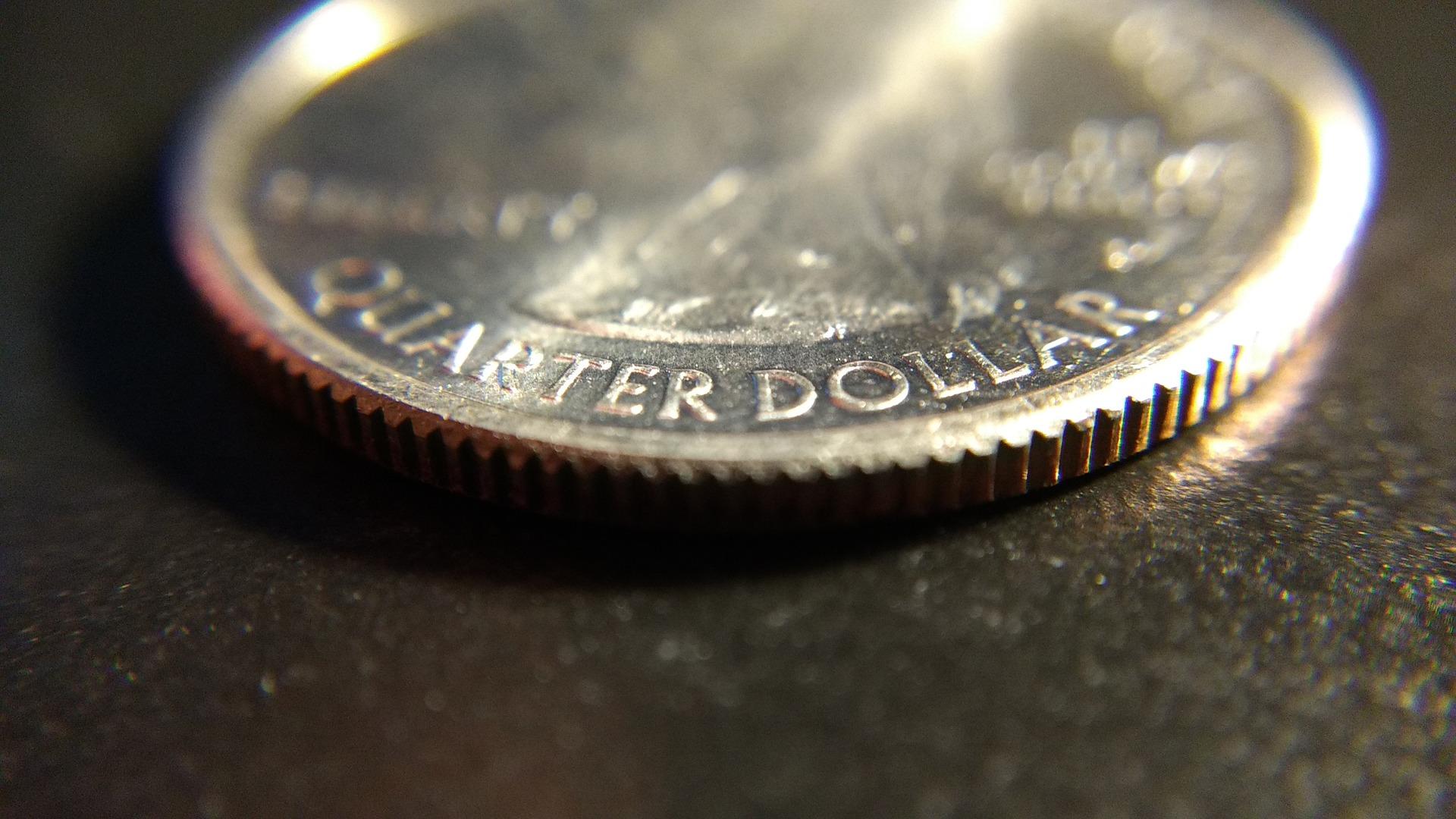 Close up view of a U.S. quarter